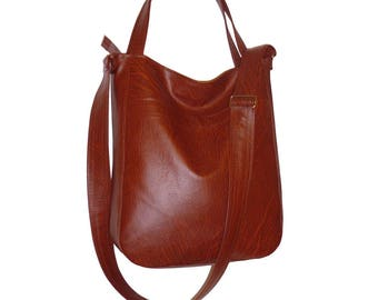 5507, red brown crossbody bag, red brown hobo bag, vegan leather crossbody bag, vegan leather hobo crossbody, red brown bag, chestbrown tote