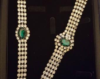 Emerald and Rhinestone Choker Set