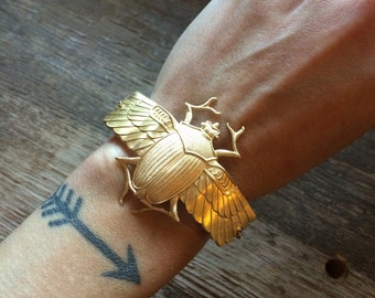 Scarab Cuff Bracelet // handmade in the USA // raw brass winged Egyptian beetle // custom size // gift idea