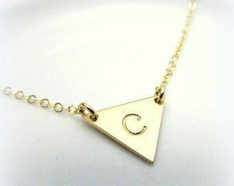 Triangle Initial Necklace   Gold Letter Necklace   Gold Initial Triangle Necklace   Triangle Charm   14K Gold Filled   Gift Packaged