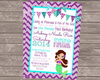 Mermaid Invitation | Mermaid Birthday Invitation | Teal Purple Lavender Mermaid Invitation | Under The Sea Invitation Mermaid Birthday Party