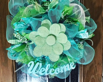 Fresh as Spring Wreath, Turquoise and Green wreath, Spring Welcome Wreath