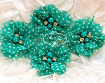 "NEW: 4 pcs Aubrey vert JADE / Aquamarine pois blancs - 2"" Soft mousseline de soie perles strass maille Layered petites fleurs en tissu."