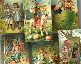 Vintage Victorian Easter Postcards Digital Collage Sheet Instant Download Printable Rabbits Bunnies Eggs 1800s piddix 706