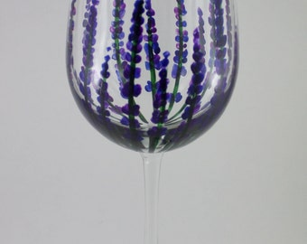 Lavender Hand Painted Wine Glass, Lavender fields, flowers, floral