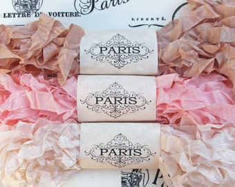 Seam Binding,Scrunched, Shabby Crinkled Ribbon, Pink, Cream, Rayon Ribbon, Doll Making, French Vintage,Junk Journals, Australia, La Provence