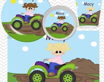 ATV 4-Wheeler Girl Truck Plate, Bowl, Cup, Placemat - Personalized ATV Truck Dinnerware for Kids - Custom Tableware