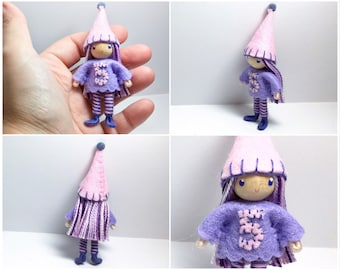 Birthday Bendy Doll by Princess Nimble-Thimble - Waldorf 5th Fifth Birthday Party Cake Topper Girl, Bendable Felt Doll, Cupcake Party Favor