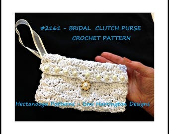 crochet PATTERN- Bridal Clutch Purse - Wedding accessories, crochet for brides, #2161