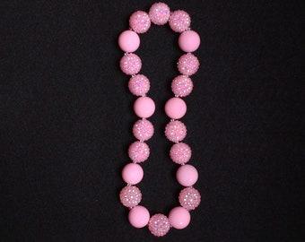 Girls Pink Necklace, Pink Rhinestone Necklace, Childrens Princess Jewelry