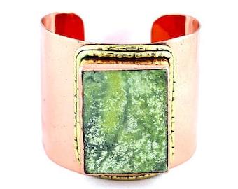 Flower Jade Copper Cuff