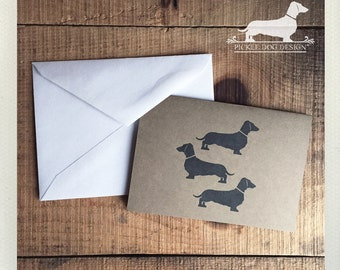 Doxie Trio. Note Cards -- (Sausage Dog, Dachshund, Vintage-Style, Brown Kraft Paper, Weiner Dog, Dog Silhouette, Hello, Cute, Card Under 5)