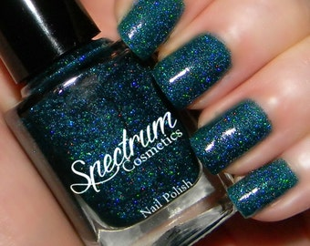 LEAVES OF THREE  Teal Green Holographic Glitter Nail Polish
