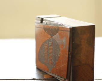 Antique Solid Copper and Wood Printers Block Set, Collectible Printing Block, Vintage Text Book Letterpress Printer's Block Set of Four