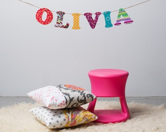 Custom Name Banner ~ Fabric Banner ~ Fabric Letters ~  Photo prop ~ OLIVIA Collection