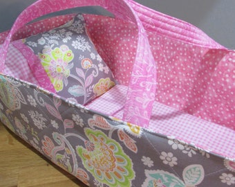 Doll Carrier, Will Fit Bitty Baby and Wellie Wisher Dolls, Paisley with Pink Lining, 16 Inches Long