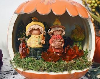 Fall Harvest Pumpkin Diorama Table Decoration, Fall decor