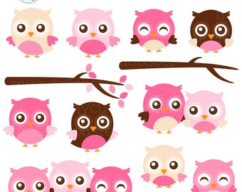 Pink Owls Clipart Set - owls and branches, cute owls, girl owls, pink, clip art set - personal use, small commercial use, instant download