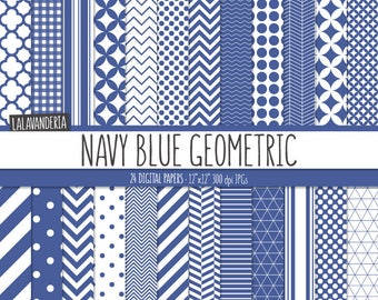 Geometric Digital Paper Package with Navy Blue Backgrounds. Printable Papers Set - Blue Patterns. Digital Scrapbook. Instant Download
