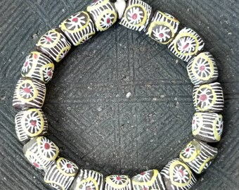 AFRICAN BEADS, Beautiful Hand Painted Recycle Glass Beads From Ghana.  Krobo beads