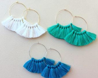 54 Tassel Colors/ Lightweight/ Mini Tassel/ 1.75 inch Hoop/ Gold Hoop/ Rose Gold Hoop/ Silver Hoop/ Tassel Earring/ Hoop Earring