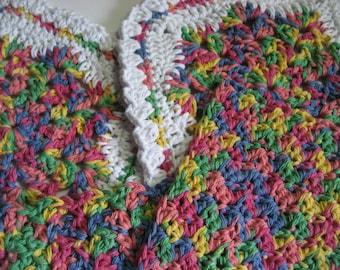 Set of 7 Cotton Crochet Wash Cloths Dish Cloths Scrubbies Rainbow White New