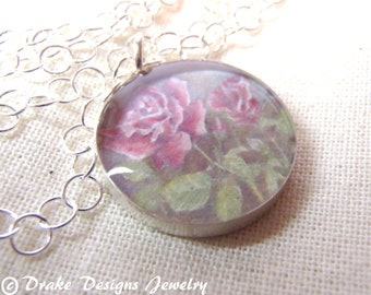 Birth Month Flower Necklace June Rose... Sterling Silver... Watercolor Necklace with Meaning Card