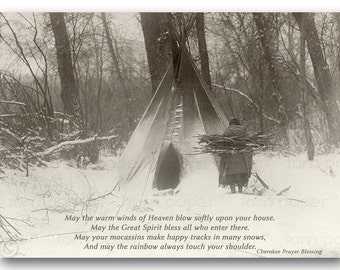 Native American BLESSING - Thanksgiving Card - Edward Curtis Historic Photo - Available as an Art Print or a Quote Block (CPIC2013069)