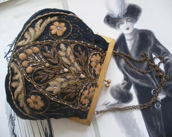 Downton Abbey style vintage purse with metallic & chenille embroidery, evening bag
