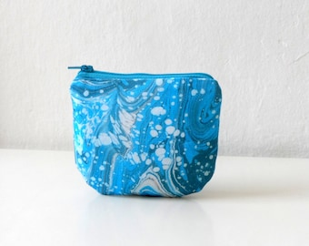 Blue White Mini Zip Pouch, Coin Purse Wallet, Credit Card Holder, Small gift idea