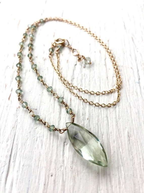 Green Amethyst  Briolette Necklace, Prasiolite Marquis Pendant, February Birthstone, 14K Gold Filled Hand Wire Wrapped