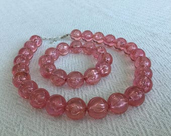 Transparent Pink Lucite Plastic Beaded Necklace Bracelet Set