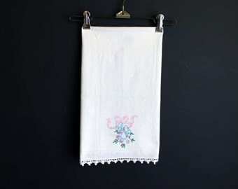 Vintage Wedding Bell Hand Embroidered Cotton Linen Tea Towel With Crocheted Trim Table Runner or Dresser Scarf
