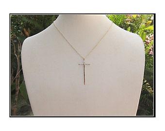 Gold Cross Necklace, Modern Cross Necklace, Spiritual Necklace