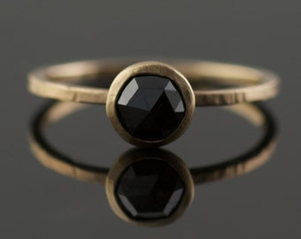 Black Rose Cut Diamond Engagement Ring in Recycled 14k Yellow Gold // Eco Engagement // Modern Bride // Handmade Portland