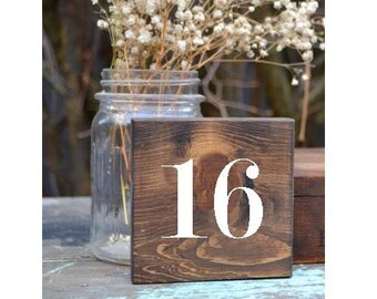 Rustic Wedding Table Numbers, Block Table Numbers, Rustic Wedding Decor, Square Numbers, Spring Wedding, Summer Wedding, Wedding Tables