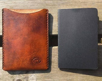 Leather notebook sleeve for Moleskine notebook tan