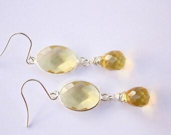 Lemon Citrine Drop Earrings, Quartz Citrine, Silver Tone Earrings, Exclusive Earrings, Ready to Ship