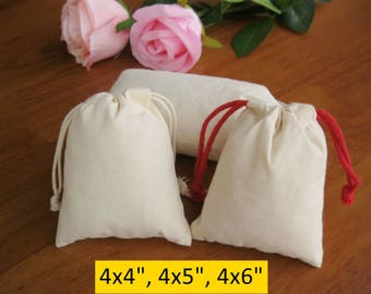 50 Small Gift Bags Custom Muslin Bags Jewelry Packaging 4x4, 4x5, 4x6 Cotton Bags