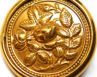 """1800s Lg Rose BUTTON, Antique Victorian flowers on brass, 1 3/8""""."""