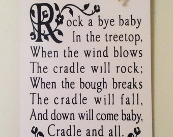 "Nursery Rhyme Hanging Sign 8"" x 6"""