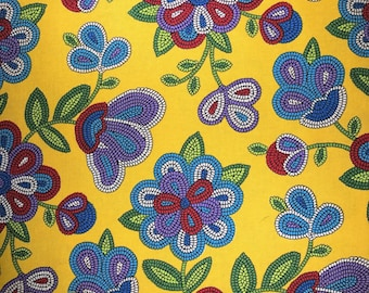 Fabric with beaded flowers - Navajo theme fabric - Quilting Cotton Fabric - Choose your cut.