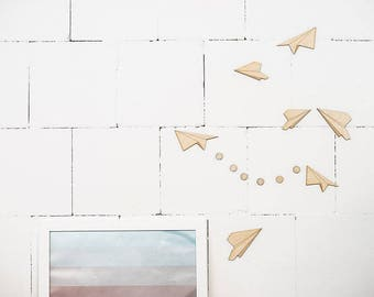 paper planes - wooden wall decal- SET