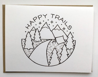 Happy Trails - Hand Lettered Greeting Card
