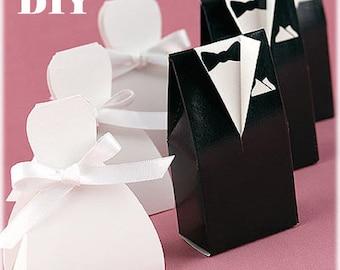 Printable Wedding Favor Boxes, Groom and Bride Boxes Pattern, Wedding Decoration, Wedding Favors, DIY favor boxes template, Wedding Boxes