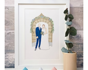 Wedding portrait in pen and ink. Personalised.