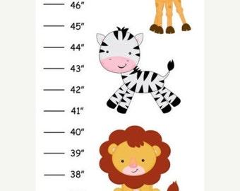 Personalized Safari Jungle Animals Canvas Growth Chart
