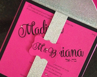 Madison & Briana// 6.5x6.5 Hot Pink/Black/glitter custom Bat Mitzvah invitation