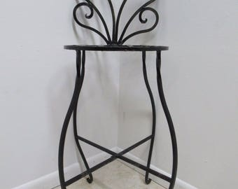 Vintage French Regency Wrought Iron Counter Bar Stool B