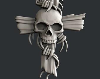 3d STL models for CNC cross with skulls